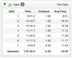 A break down of my pace per mile. Notice that my slowest mile came in at 11:17 :)