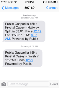The text messages my family and friends received on race day.