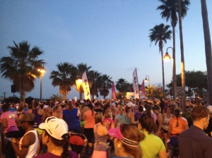 View of the line up for the half-marathon start.