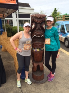 My sister and I with the Tiki man before the race.