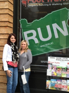 My sister and I during the packet pick up at Foot Traffic in Portland.
