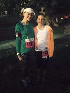 Sam and I before the race. Shout out to this girl for completing her first half and with a knee injury!