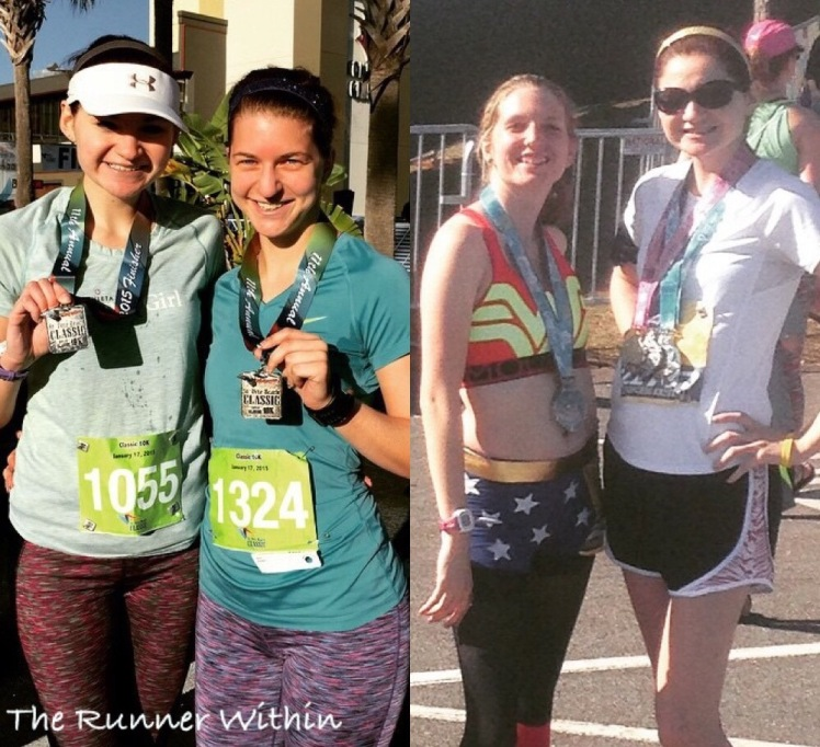 Montana and I (left) after the St. Pete Beach Classic 10K and then Sam and I (right) after the Disney Princess Half.